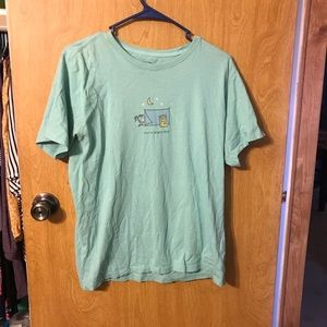 Women's EUC Life is Good T-shirt. Green. Large